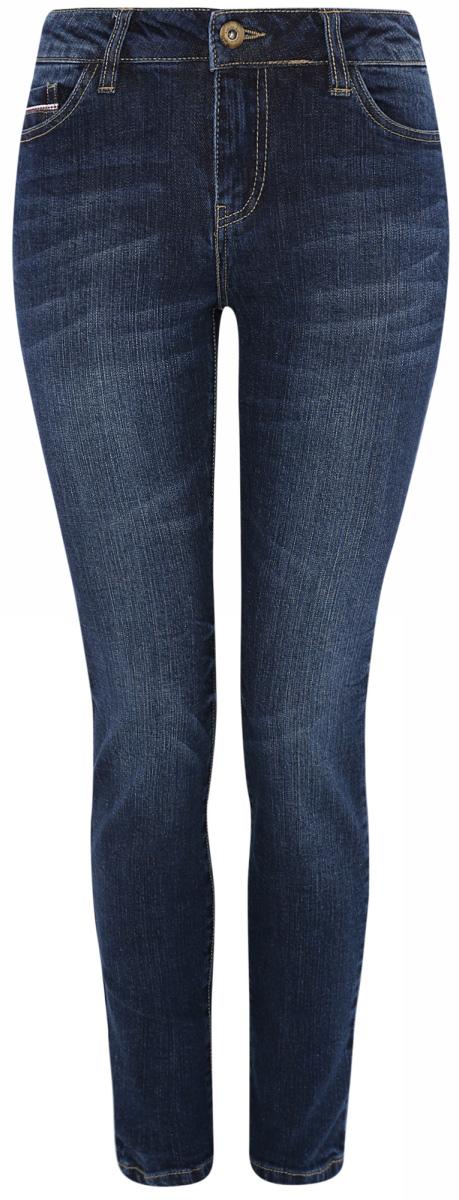 Джинсы12103136/45369/7500WЖенские джинсы oodji Ultra выполнены из высококачественного материала. Модель-скинни средней посадки по поясу застегиваются на пуговицу и имеют ширинку на застежке-молнии, а также шлевки для ремня. Джинсы имеют классический пятикарманный крой: спереди - два втачных кармана и один маленький накладной, а сзади - два накладных кармана.