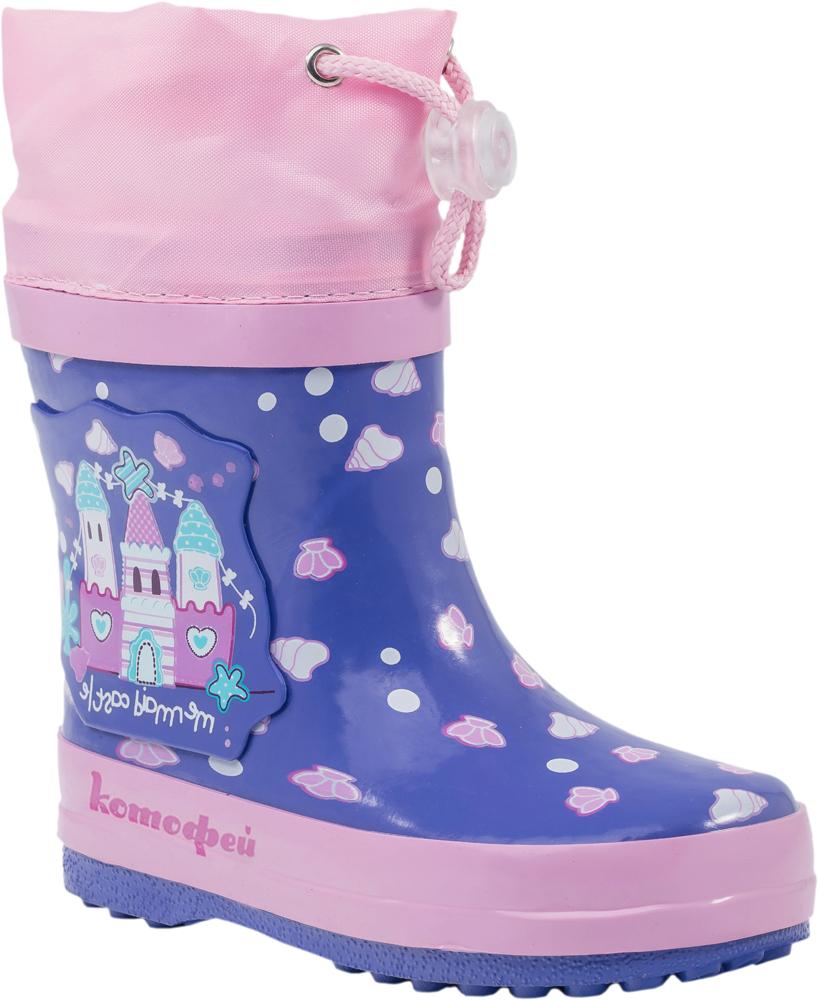 Резиновые сапоги166067-11Резиновые сапоги от Котофей - идеальная обувь в холодную дождливую погоду для вашей девочки. Сапоги выполнены из качественной резины. Голенище оформлено оригинальным принтом, сбоку - декоративной накладкой. Подкладка и стелька из текстиля обеспечат комфорт. Текстильный верх голенища регулируется в объеме за счет шнурка со стоппером. Подошва дополнена рифлением.