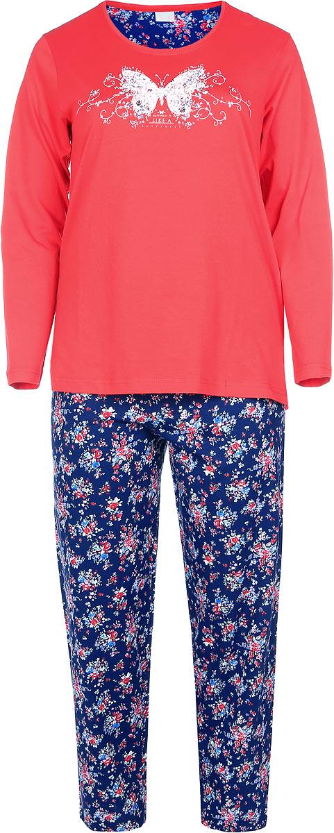 Пижама504200 4607Пижама женская Vienettas Secret исполнена из 100% хлопка. Лонгслив оформлен принтом с бабочкой и украшен стразами. Брюки принтованы цветочным узором и имеют завязки на талии.