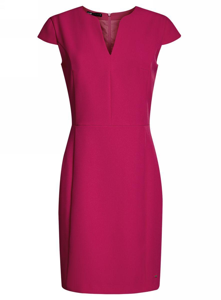 Платье21902060-4/14917/2900NПриталенное платье oodji Collection, выгодно подчеркивающее достоинства фигуры, выполнено из качественного однотонного трикотажа. Модель средней длины с фигурным V-образным вырезом горловины и короткими рукавами-крылышками застегивается на скрытую застежку-молнию на спинке.
