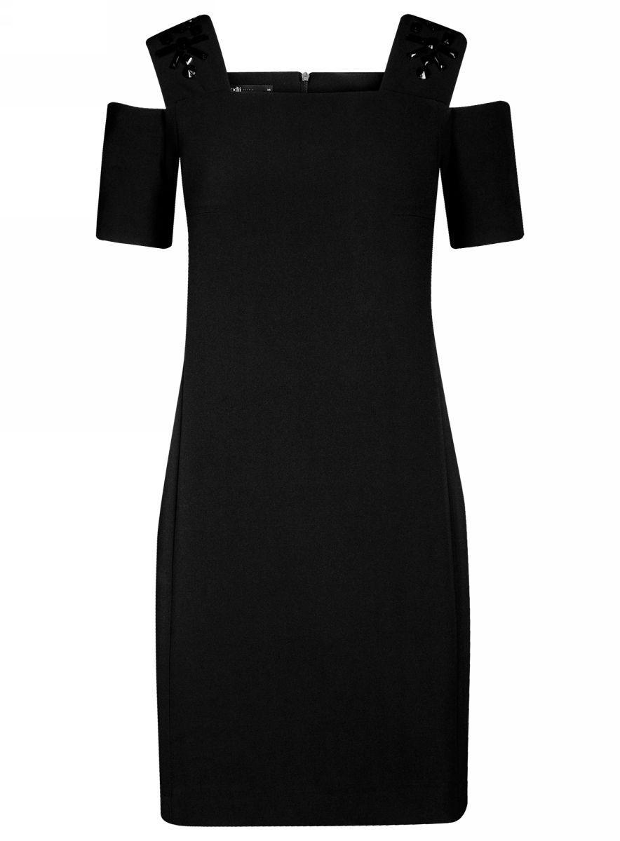 Платье11900228-1/42314/2900NОригинальное платье oodji Ultra выполнено из качественного эластичного материала и оформлено декоративными элементами на плечах. Приталенная модель мини-длины с открытыми плечами застегивается на скрытую молнию на спинке.