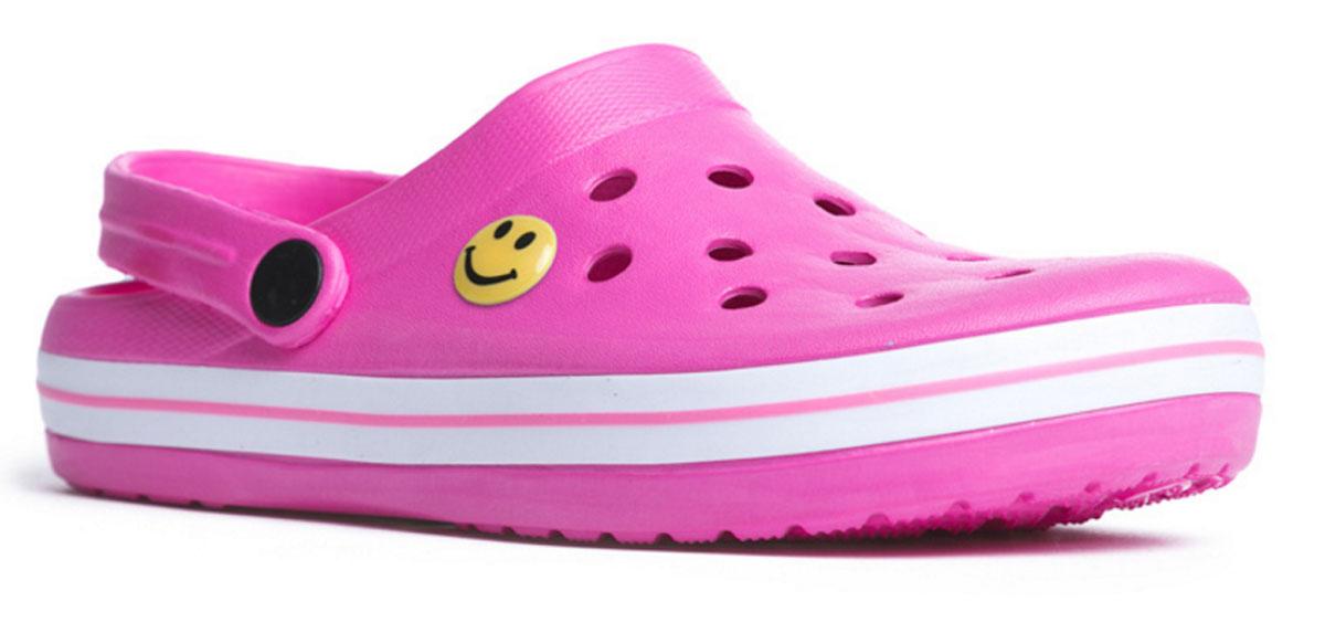 Сабо174247Удобные сабо для девочки прекрасно подойдут и для поездки на пляж, и для дачи. Модель с подвижным запяточным ремнем, который можно откинуть, что позволяет легко снимать и одевать обувь. Изготовлены из легкого материала. Перфорация в верхней части обеспечивает вентиляцию ноги.