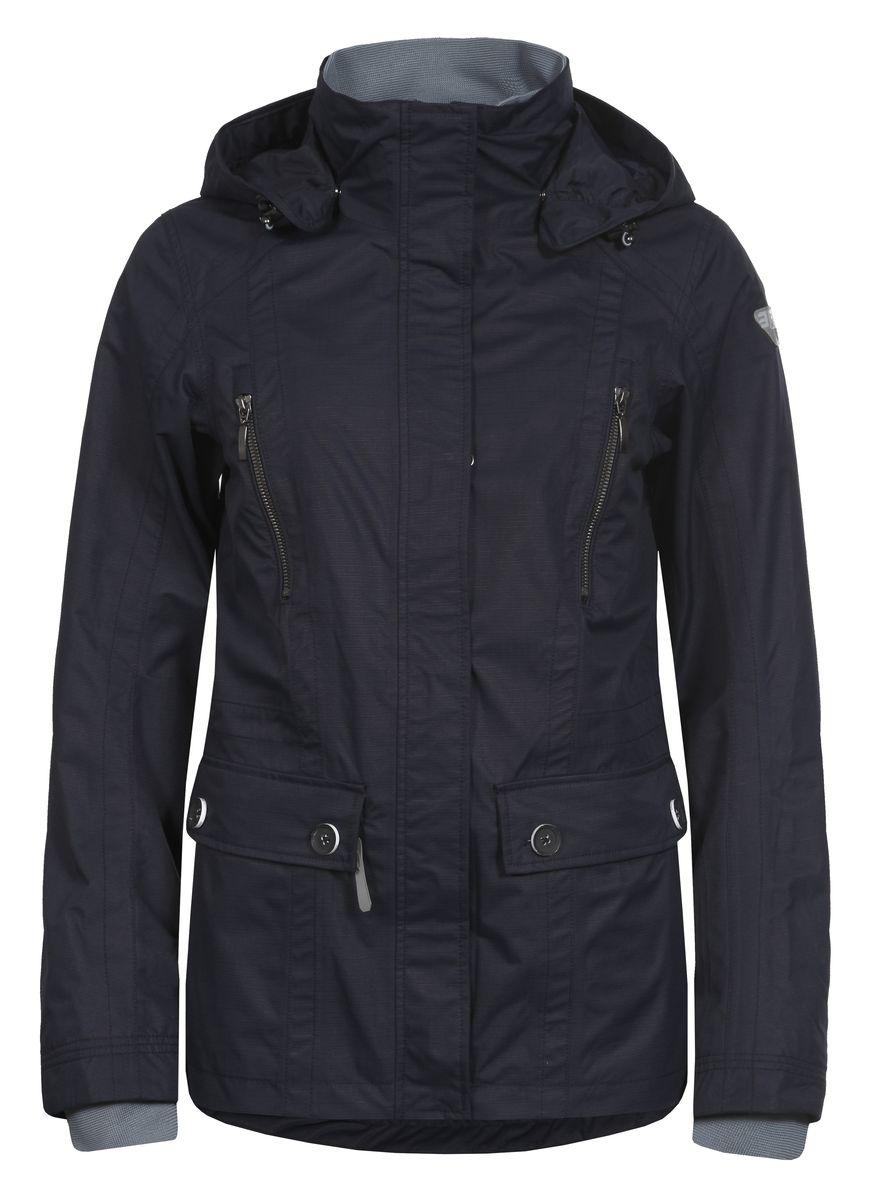 Куртка753013520IVЖенская куртка Icepeak выполнена из качественного полиэстера. Модель с длинными рукавами застегивается на застежку-молнию. Изделие дополнено съемным капюшоном, манжетами на рукавах и четырьмя внешними карманами.