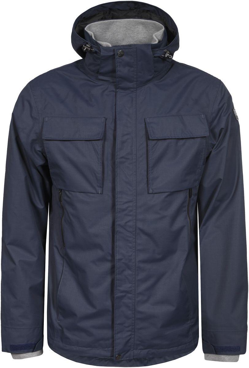 Куртка756013520IV_345Мужская куртка с подкладкой Icepeak выполнена из качественного полиэстера. Модель с длинными рукавами застегивается на застежку-молнию и планку с кнопками. Изделие дополнено капюшоном и шестью внешними карманами. Манжеты рукавов и внутренняя часть воротника-стойки оформлены эластичными трикотажными вставками.