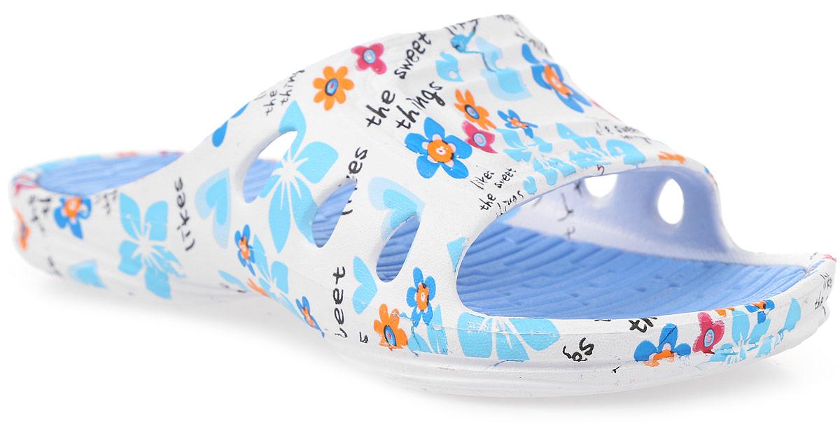Шлепанцы525020-01Стильные шлепанцы для девочки от Котофей полностью выполнены из материала ЭВА. Модель оформлена цветочным принтом и надписями. Верх модели дополнен перфорацией, которая обеспечивает естественную вентиляцию. Верхняя поверхность подошвы оформлена рельефом, который обеспечивает комфорт при движении. Основание подошвы дополнено рифлением.