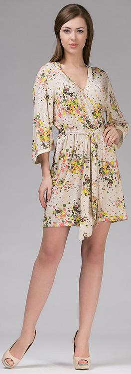 Халат347Х1Короткий халат-кимоно с запахом. Выполнен из мягкого вискозного полотна.