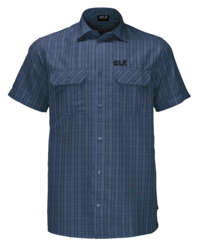 Рубашка1401042-7508Рубашка мужская Thompson Shirt M выполнена из 100% полиэстера. Ткань позволяет телу дышать и быстро сохнет. Модель идеально подходит для жаркой летней погоды и поездок в жаркие страны, так как обеспечивает хорошую терморегуляцию. Рубашка застегивается на пуговицы, имеет отложной воротник и короткие стандартные рукава. Спереди расположены два накладных кармана на пуговицах, чтобы важные вещи всегда были под рукой. Модель дополнена принтом в клетку и логотипом бренда.