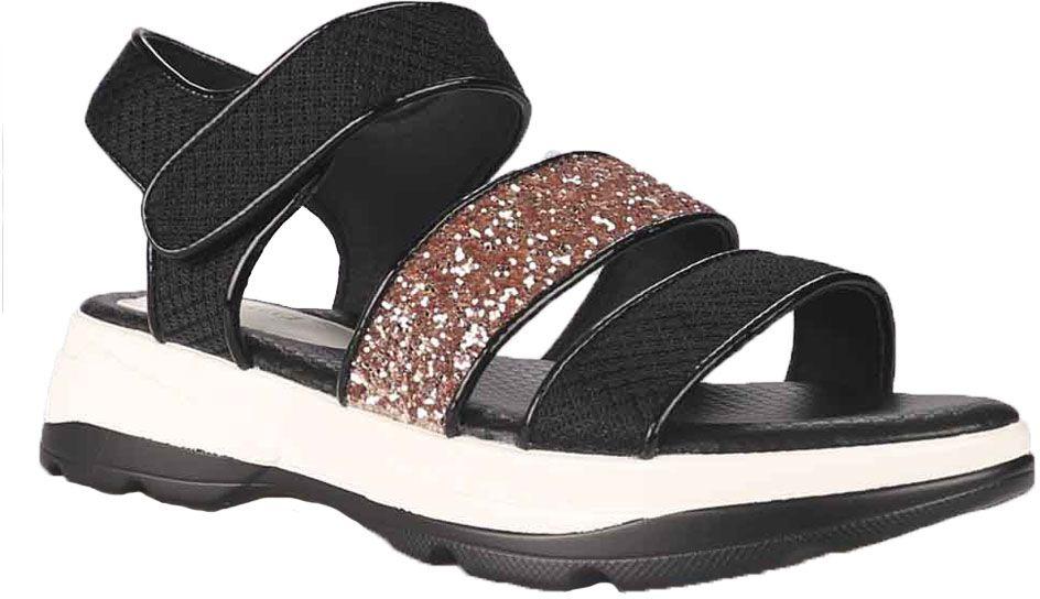 Сандалии87150Стильные женские сандалии от Vitacci не оставят вас незамеченной! Модель выполнена из качественной искусственной кожи. Ремешок с липучкой надежно зафиксирует модель на ноге. Гибкая подошва из полиуретана гарантирует комфорт и удобство при ходьбе.