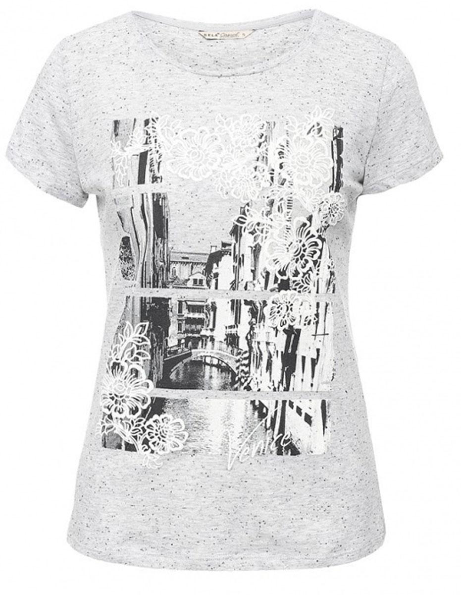 ФутболкаTs-111/1234-7191Стильная женская футболка Sela станет отличным дополнением к гардеробу каждой модницы. Модель полуприлегающего силуэта изготовлена из качественного хлопкового материала и оформлена оригинальным принтом. Воротник дополнен мягкой эластичной бейкой. Универсальный цвет позволяет сочетать модель с любой одеждой.