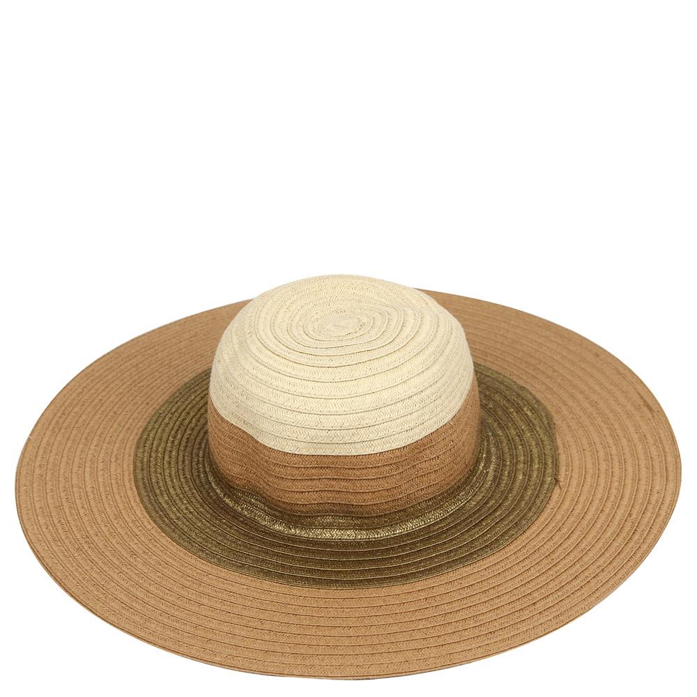 ШляпаG38-7/3 BROWN/BEIGEСтильная шляпа для пляжного отдыха и прогулок в солнечные дни.