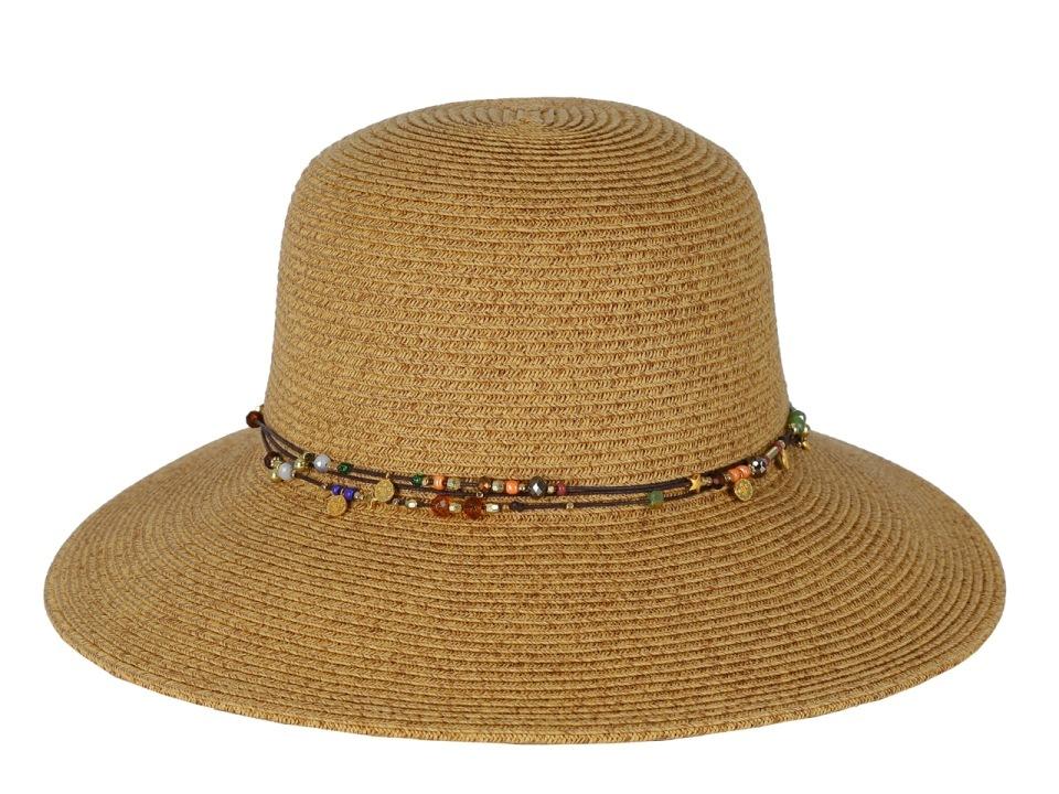 ШляпаG18-3 BEIGEЖенская шляпа Fabretti изготовлена из плотной целлюлозы. Модель оформлена тремя нитками контрастного цвета с нанизанными бусинами и цветным декором. Нити завязываются сзади шляпы. Стильная шляпа для пляжного отдыха и прогулок в солнечные дни.