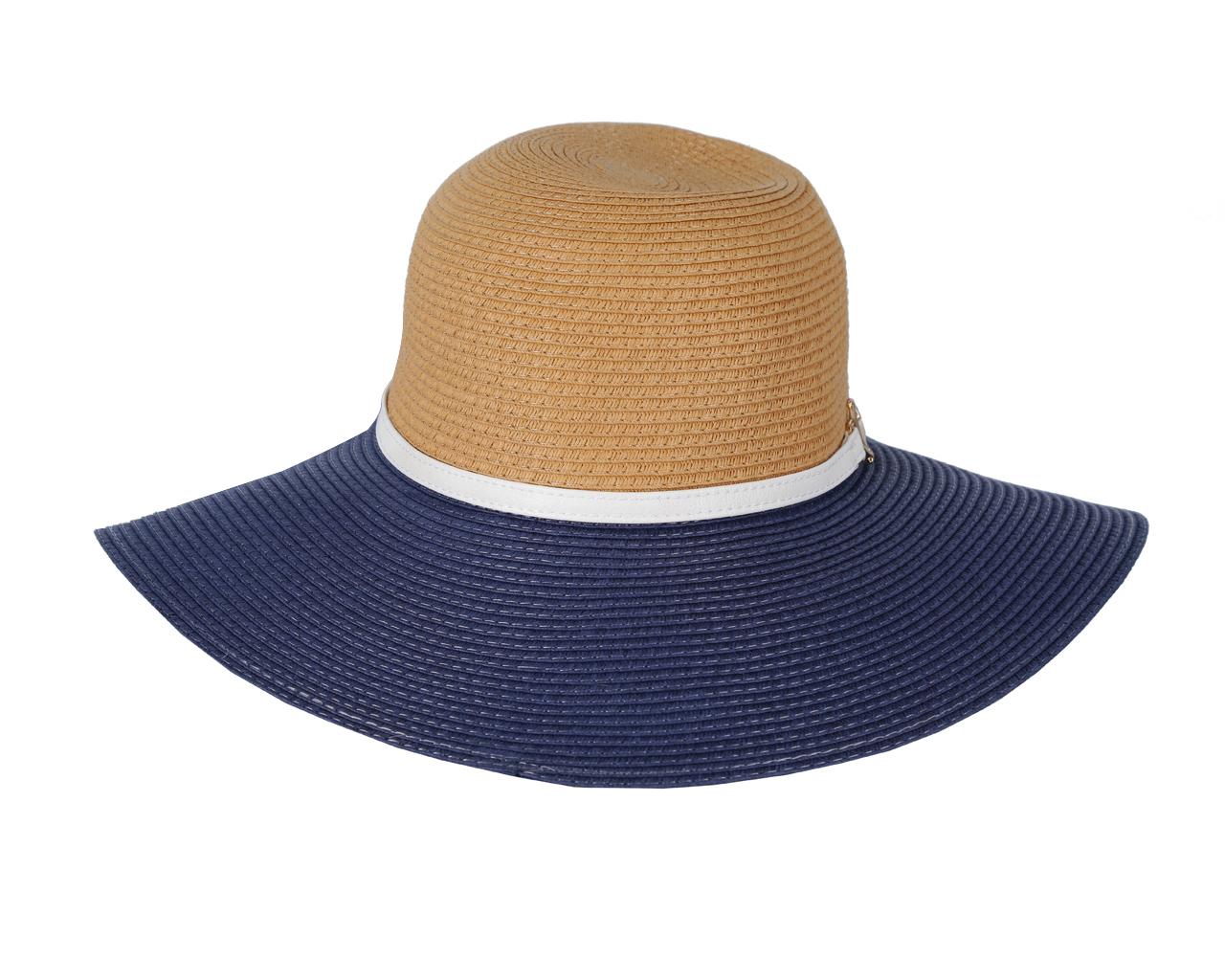 ШляпаGL34-3/5 BEIGE/BLUEСтильная шляпа для пляжного отдыха и прогулок в солнечные дни.