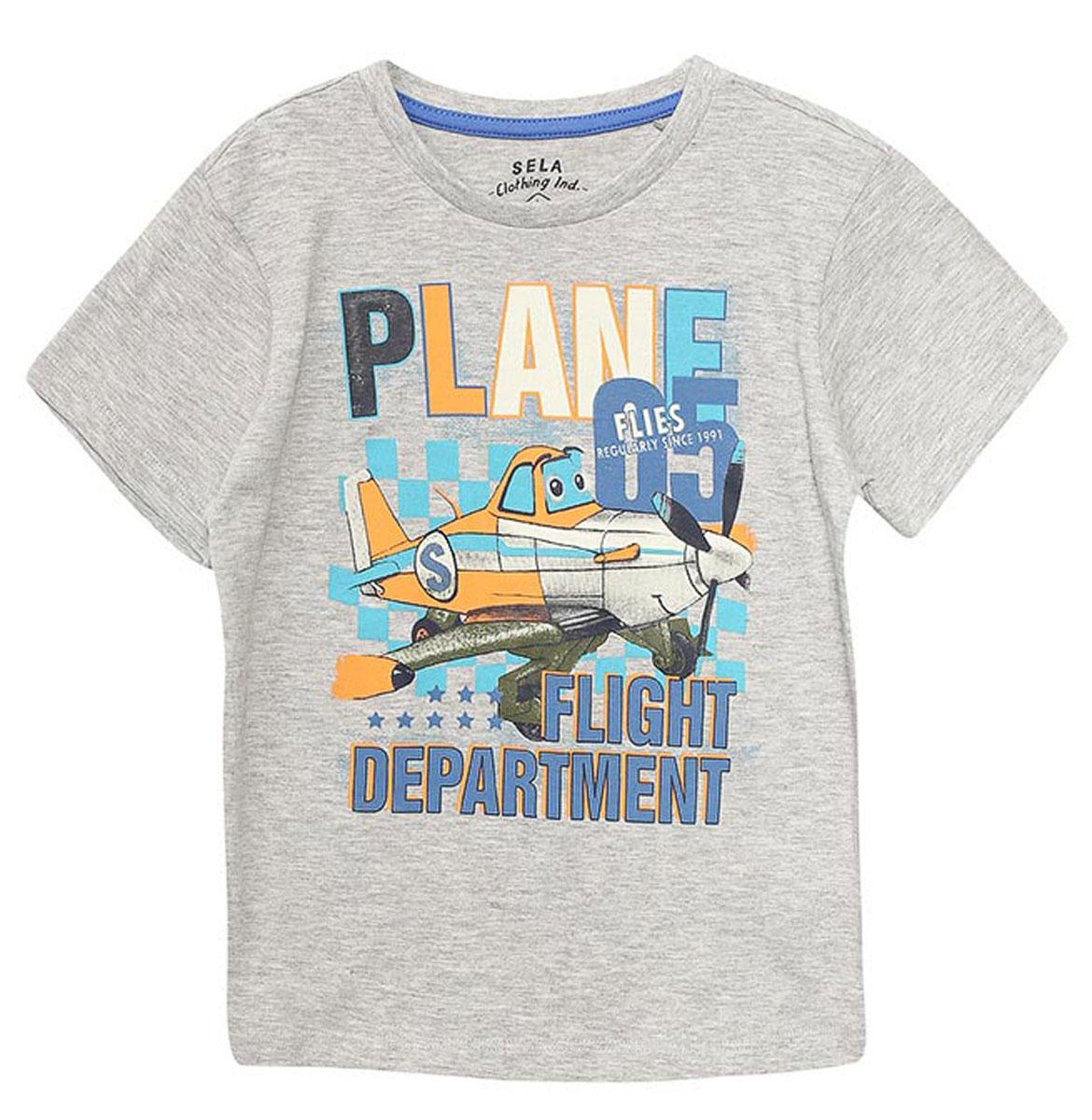 ФутболкаTs-711/194-7112Стильная футболка для мальчика Sela изготовлена из натурального хлопка и оформлена оригинальным принтом. Воротник дополнен мягкой трикотажной резинкой. Яркий цвет модели позволяет создавать модные образы.