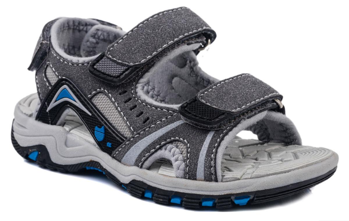 Сандалии523051-11Модные сандалии для мальчика от Котофей выполнены из искусственной кожи и текстиля. Внутренняя поверхность из текстиля не натирает. Стелька из материала ЭВА с рельефной поверхностью обеспечит комфорт при движении. Ремешки с застежками-липучками надежно зафиксируют модель на ноге. Подошва дополнена рифлением.