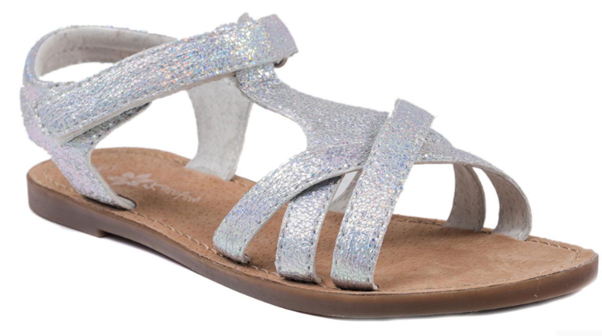 Сандалии523049-22Модные сандалии для девочки от Котофей выполнены из искусственной кожи. Внутренняя поверхность и стелька из натуральной кожи обеспечат комфорт при движении. Ремешок с застежкой-липучкой надежно зафиксирует модель на ноге. Подошва дополнена рифлением.