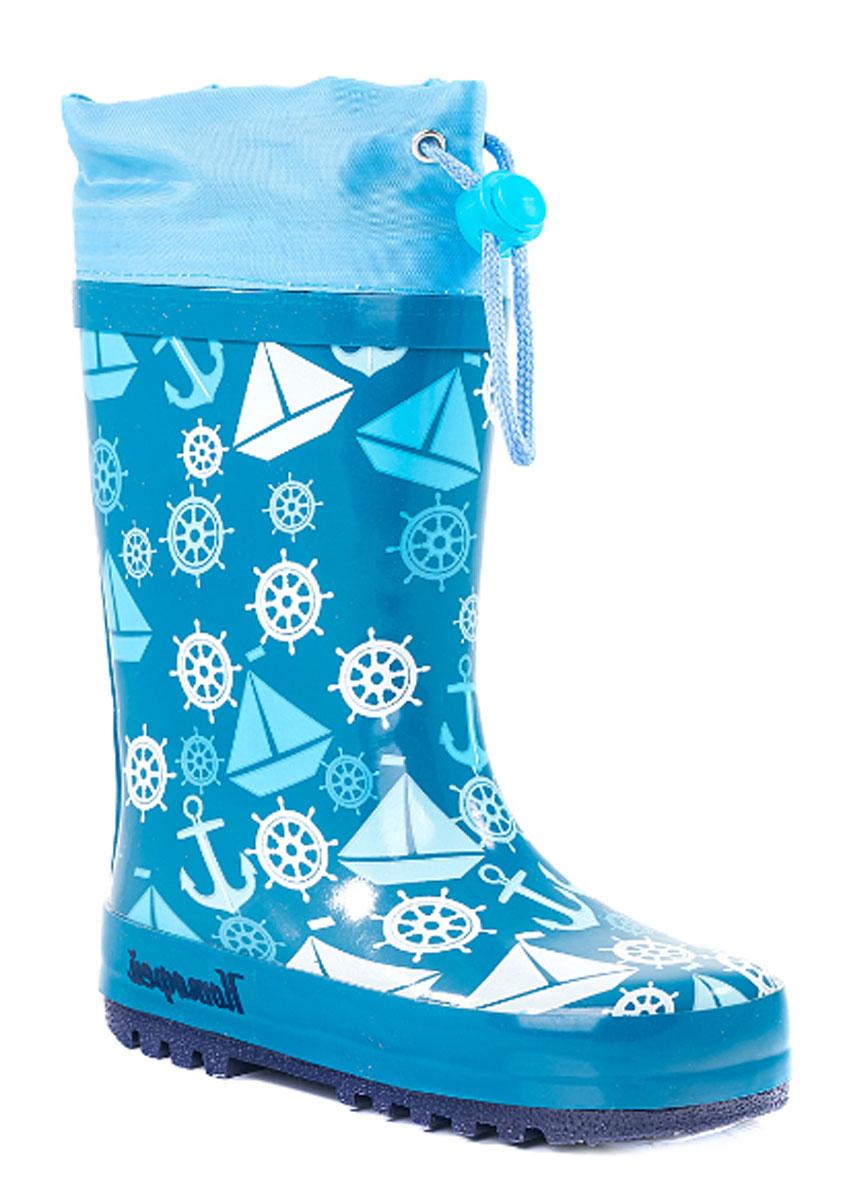 Резиновые сапоги366148-11Резиновые сапоги от Котофей - идеальная обувь в холодную дождливую погоду для вашего ребенка. Сапоги выполнены из качественной резины. Голенище оформлено оригинальным принтом. Подкладка и стелька из текстиля обеспечат комфорт. Текстильный верх голенища регулируется в объеме за счет шнурка со стоппером. Подошва дополнена рифлением.