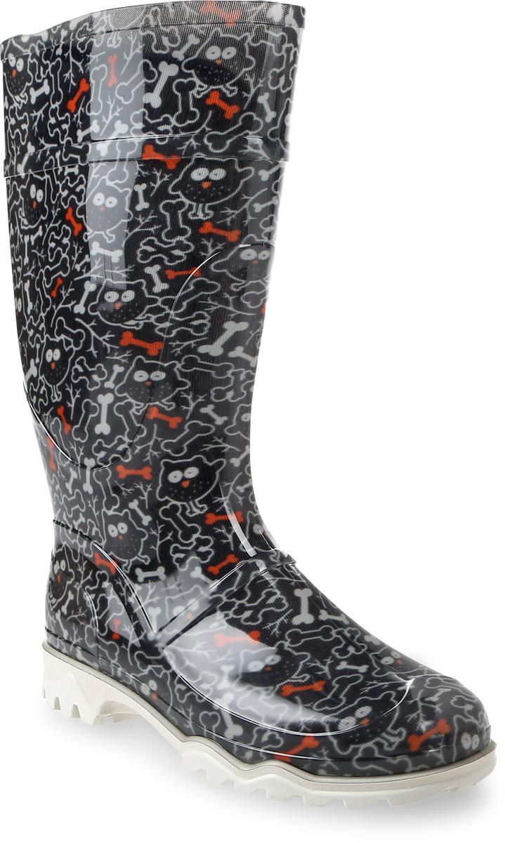 Резиновые сапоги370 РУ (НТП)_совы с косточкамиРезиновые сапоги от Дюна - превосходно защитят ваши ноги от промокания в дождливый день. Модель полностью выполнена из ПВХ, обладающего высокой эластичностью, 100% водонепроницаемостью, амортизационными свойствами и герметичностью, и оформлена ярким оригинальным принтом. Мягкий вынимающийся сапожок из искусственного меха не даст ногам замерзнуть и обеспечит комфорт. Ширина голенища компенсирует отсутствие застежек. Рельефная поверхность подошвы гарантирует отличное сцепление с любой поверхностью. Удобные сапоги поднимут вам настроение в дождливую погоду!