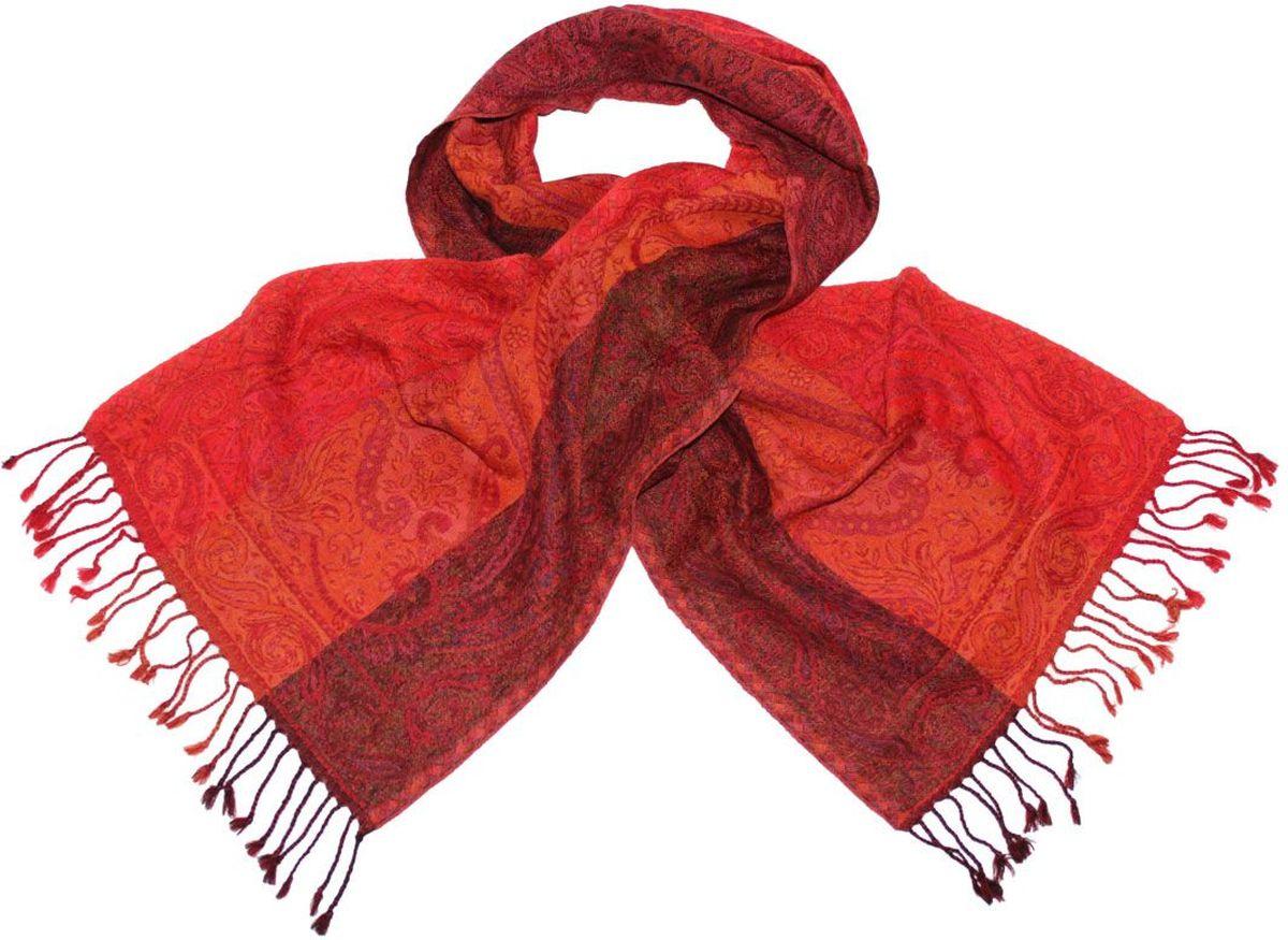 Шарф013275аЖенский шарф Ethnica, изготовленный из 100% шерсти, подчеркнет вашу индивидуальность. Благодаря своему составу, он легкий, мягкий и приятный на ощупь. Изделие декорировано оригинальным принтом и дополнено кисточками. Такой аксессуар станет стильным дополнением к гардеробу современной женщины.