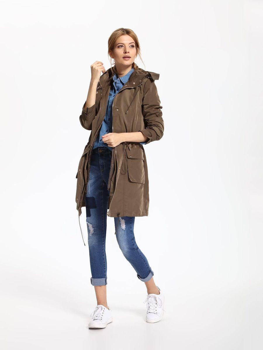 КурткаSKU0752ZIЖенская куртка Top Secret выполнена из полиэстера. Модель с капюшоном и длинными рукавами застегивается на кнопки и застежку-молнию.