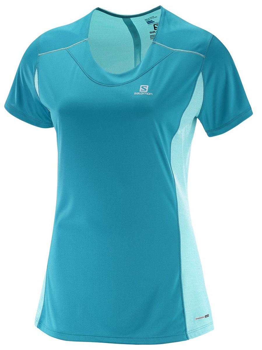 ФутболкаL39253200Легкая функциональная футболка Salomon выполнена из качественного материала. Модель с сетчатым карманом для спортивного геля и светоотражающими на 360° элементами для бега в любое время суток.