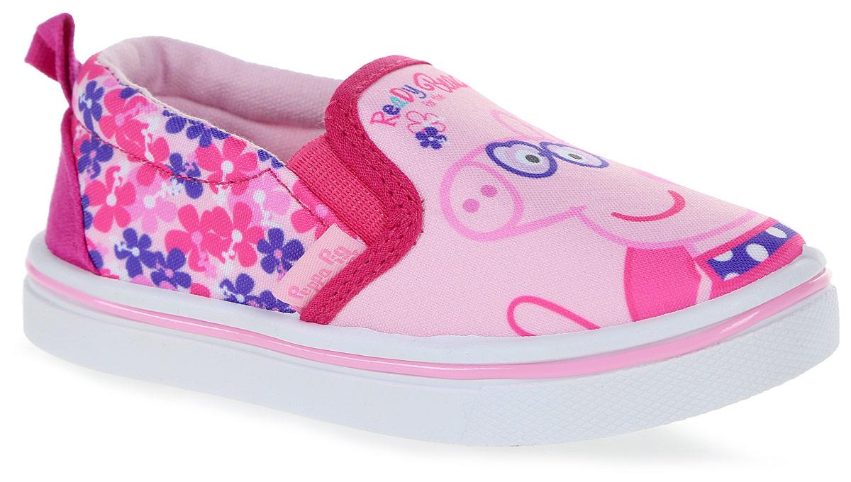 Слипоны6669BСтильные слипоны Peppa Pig от Kakadu - отличный выбор для юной модницы. Модель выполнена из плотного дышащего текстиля. Слипоны оформлены принтом с изображением Свинки Пеппы. Эластичные вставки на подъеме облегчают обувание и надежно фиксируют модель на ноге. Внутренняя поверхность из мягкого хлопка создает комфорт при движении. Съемная стелька удобна в эксплуатации и позволяет быстро просушивать обувь. Мягкая подошва имеет отличную амортизацию, благодаря чему снижается нагрузка на суставы и позвоночник. Рифление на подошве гарантирует отличное сцепление с любыми поверхностями. Модные и удобные слипоны займут достойное место в гардеробе каждого ребенка.