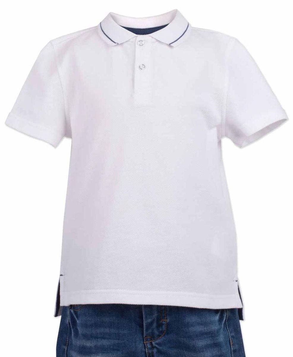 Поло117BBBC14010200Белая футболка-поло - изделие из разряда must have! Это не только базовая вещь в гардеробе ребенка, но и залог хорошего летнего настроения! Если вы решили купить недорогую футболку-поло для мальчика, выберете модель от Button Blue, и ваш ребенок будет доволен! Низкая цена не окажет влияния на бюджет семьи, позволив создать интересный базовый гардероб для долгожданных каникул!