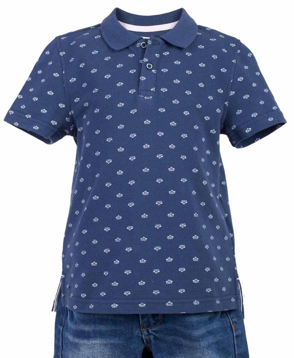Поло117BBBC14011013Синяя футболка-поло - изделие из разряда must have! Это не только базовая вещь в гардеробе ребенка, но и залог хорошего летнего настроения! Если вы решили купить недорогую футболку-поло для мальчика, выберете стильное синее поло с мелким рисунком от Button Blue, и ваш ребенок будет доволен! Низкая цена не окажет влияния на бюджет семьи, позволив создать интересный базовый гардероб для долгожданных каникул!