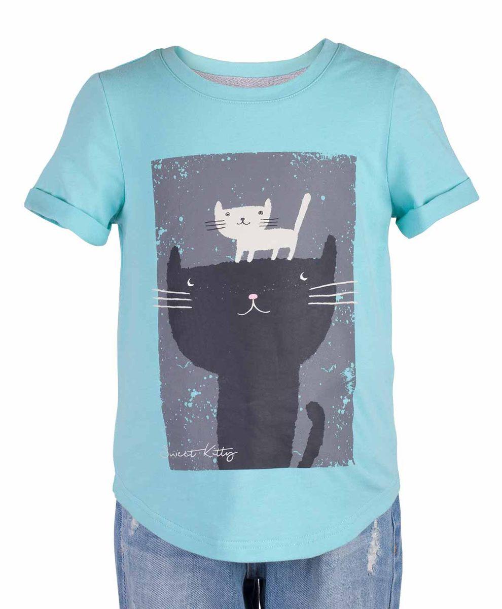 Футболка117BBGC12012600Бирюзовая футболка - не только базовая вещь в гардеробе ребенка, но и залог хорошего летнего настроения! Если вы решили купить недорогую футболку для девочки, выберете модель футболки с оригинальным принтом, и ваш ребенок будет доволен! Низкая цена не окажет влияния на бюджет семьи, позволив создать яркий базовый гардероб для долгожданных каникул!