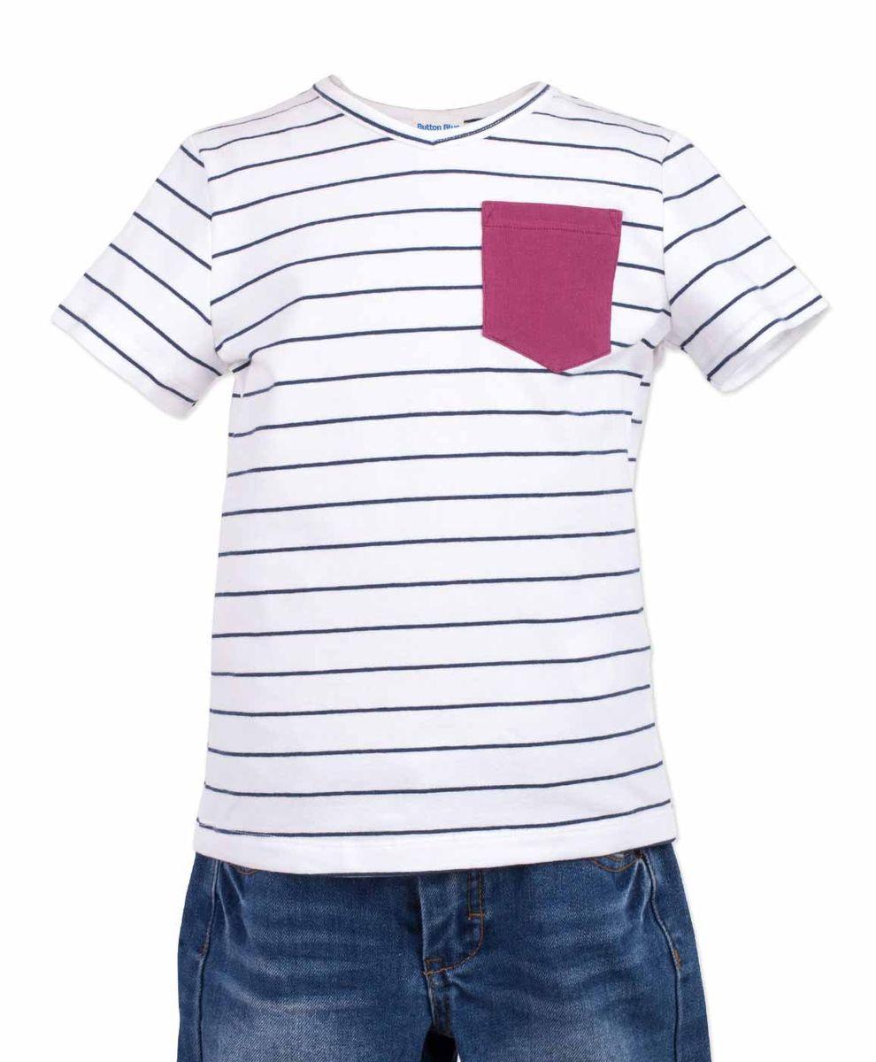 Футболка117BBBC12010205Белая футболка в полоску - не только базовая вещь в гардеробе ребенка, но и основа модного летнего образа! Если вы решили купить недорогую футболку для мальчика, выберете футболку от Button Blue с V-образной горловиной и контрастным карманом. Маленькая яркая деталь - изюминка модели, создающая настроение! Низкая цена изделия не окажет влияния на бюджет семьи, позволив создать интересный гардероб для долгожданных каникул!
