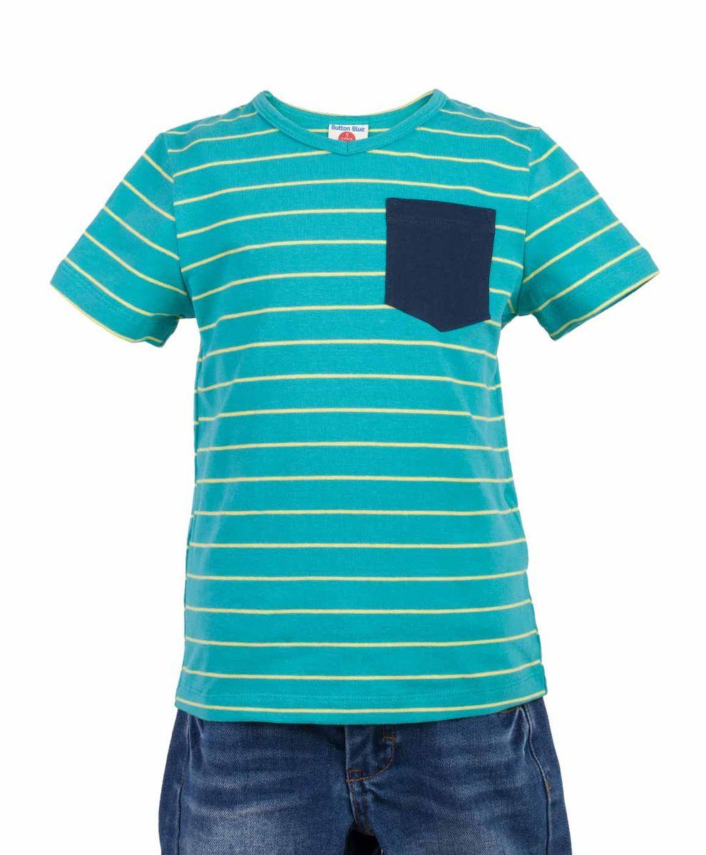 Футболка117BBBC12012805Яркая футболка в полоску - не только базовая вещь в гардеробе ребенка, но и основа модного летнего образа! Если вы решили купить недорогую футболку для мальчика, выберете футболку от Button Blue с V-образной горловиной и контрастным карманом. Маленькая яркая деталь - изюминка модели, создающая настроение! Низкая цена изделия не окажет влияния на бюджет семьи, позволив создать интересный гардероб для долгожданных каникул!