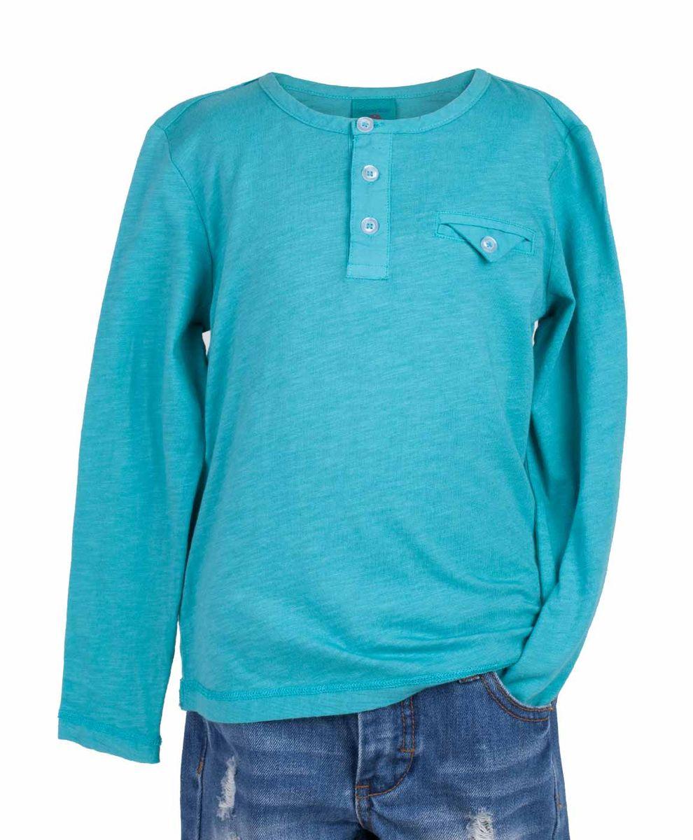 Футболка117BBBC12052800Бирюзовая футболка с длинным рукавом и короткой планкой - не просто базовая вещь в гардеробе ребенка, а залог хорошего летнего настроения! Низкая цена не окажет влияния на бюджет семьи, позволив создать яркий базовый гардероб для долгожданных каникул! Если вы планируете купить недорого стильную футболку для мальчика, эта модель - отличный выбор!