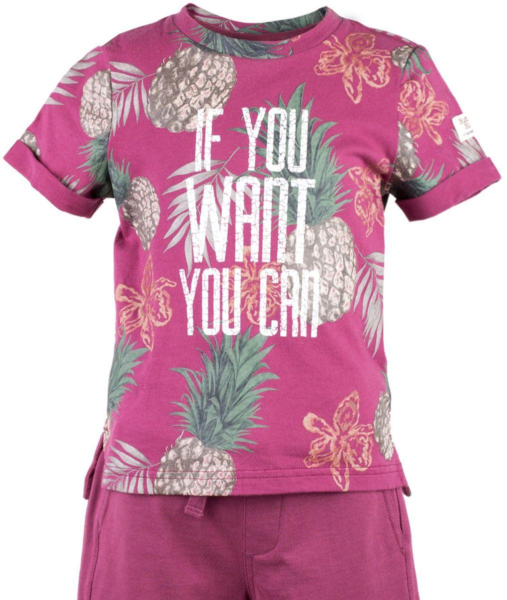 Футболка117BBBC12040313Футболки с рисунком - хит сезона Весна/Лето 2017! Динамичный принт создает летнее настроение и делает модель яркой и запоминающейся. Если вы решили купить недорогую футболку для мальчика, обратите внимание на модель от Button Blue! Эта футболка станет выразительным акцентом повседневного образа, сделав каждый комплект оригинальным и необычным. Низкая цена не окажет влияния на бюджет семьи, позволив создать интересный базовый гардероб для долгожданных каникул!