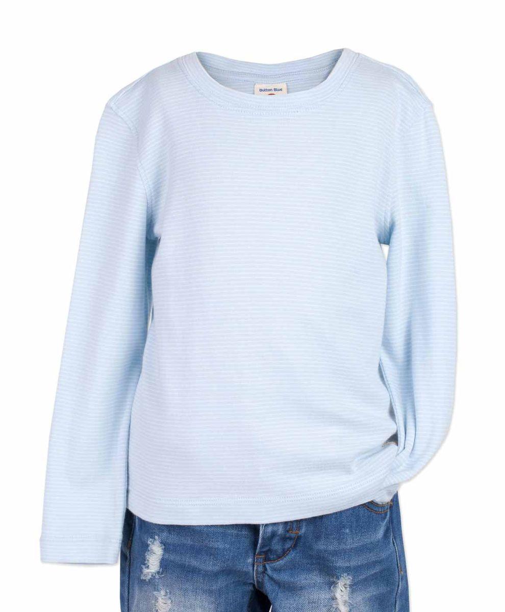 Футболка117BBBC12061805Голубая футболка в полоску - основа модного образа! Если вы решили купить недорогую футболку для мальчика, которая и весной, и летом будет весьма востребована, выберете полосатую футболку с длинным рукавом от Button Blue! Низкая цена изделия не окажет влияния на бюджет семьи, позволив создать интересный и разнообразный гардероб ребенка.