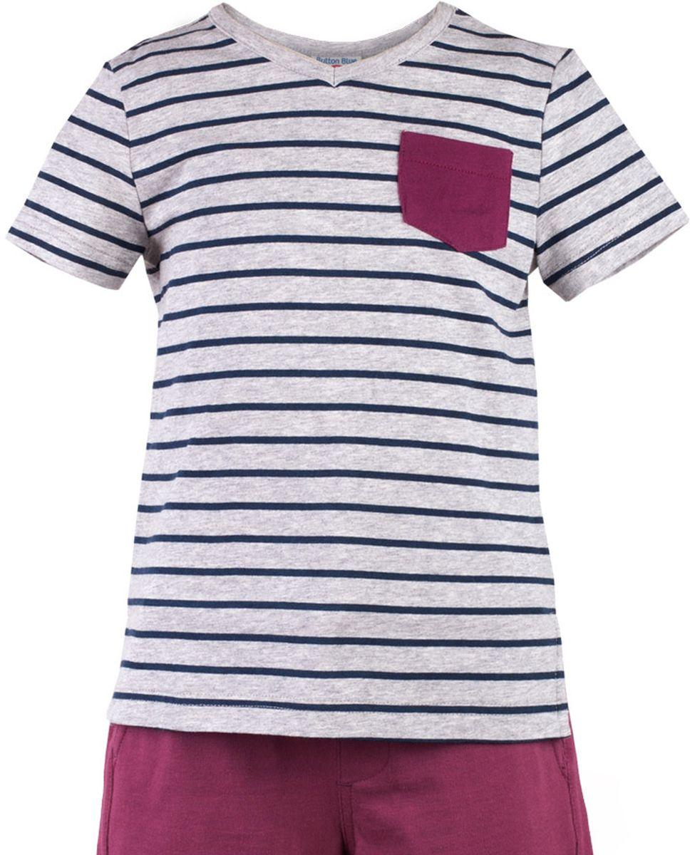 Футболка117BBBC12011905Серая меланжевая футболка в полоску - не только базовая вещь в гардеробе ребенка, но и основа модного летнего образа! Если вы решили купить недорогую футболку для мальчика, выберете футболку от Button Blue с V-образной горловиной и контрастным карманом. Маленькая яркая деталь - изюминка модели, создающая настроение! Низкая цена изделия не окажет влияния на бюджет семьи, позволив создать интересный гардероб для долгожданных каникул!