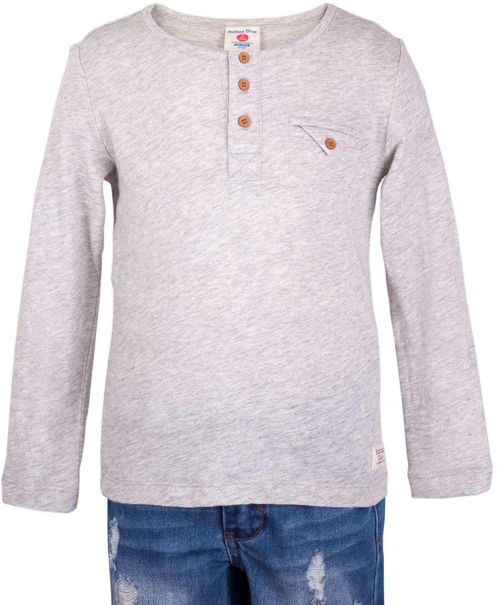 Футболка117BBBC12051900Серая меланжевая футболка с длинным рукавом и короткой планкой - не просто базовая вещь в гардеробе ребенка, а залог хорошего летнего настроения! Низкая цена не окажет влияния на бюджет семьи, позволив создать яркий базовый гардероб для долгожданных каникул! Если вы планируете купить недорого стильную и комфортную футболку для мальчика, эта модель - отличный выбор!