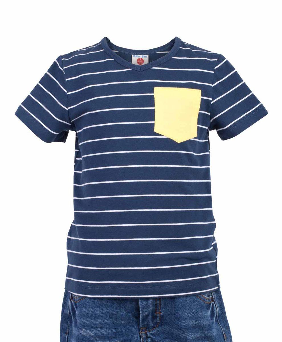 Футболка117BBBC12011005Синяя футболка в полоску - не только базовая вещь в гардеробе ребенка, но и основа модного летнего образа! Если вы решили купить недорогую футболку для мальчика, выберете футболку от Button Blue с V-образной горловиной и контрастным карманом. Маленькая яркая деталь - изюминка модели, создающая настроение! Низкая цена изделия не окажет влияния на бюджет семьи, позволив создать интересный гардероб для долгожданных каникул!