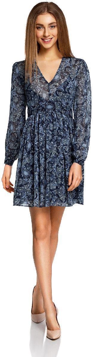 Платье11913040/15036/7974EЛегкое шифоновое платье oodji Ultra с пышной расклешенной юбкой - модное решение на каждый день. Модель мини-длины с длинными рукавами и глубоким V-образным вырезом горловины застегивается на скрытую застежку-молнию на спинке. Завышенная талия дополнена вшитой резинкой для лучшей посадки изделия по фигуре. Манжеты рукавов застегиваются на пуговицы.