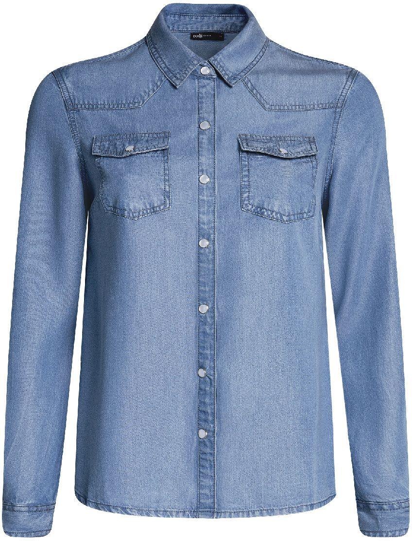 Рубашка16A09005/45372/7900WЖенская джинсовая рубашка oodji Ultra выполнена из высококачественного материала. Модель с отложным воротником и длинными рукавами застегивается на кнопки. Рукава дополнены манжетами с кнопками. Изделие оформлено двумя накладными карманами с клапанами на кнопках.