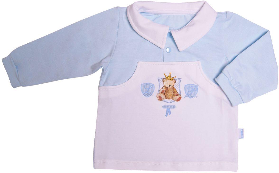 Кофта34-2262Кофточка для мальчика Маленький принц выполнена из ткани кулирка-стрейч. Ткань мягкая, эластичная и легкая, швы приятны телу и не препятствуют движениям. Модель имеет длинные рукава и отложной воротник с планкой на кнопках. Модель украшена на груди изображением медвежонка.