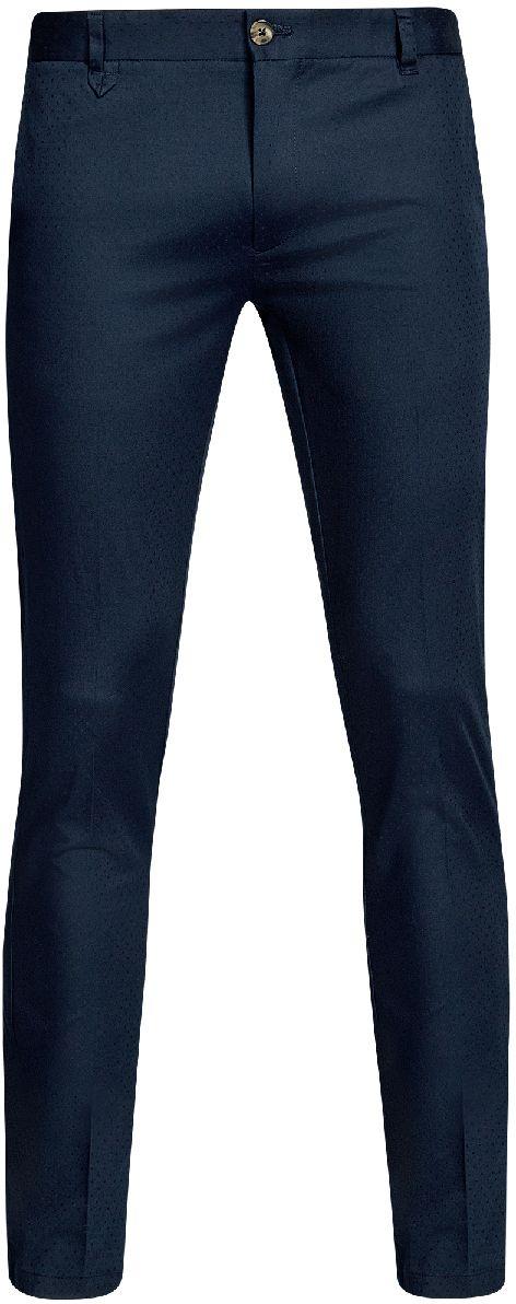 Брюки2L210194M/46581N/3300NМужские брюки oodji Lab выполнены из высококачественного материала с мелким жаккардовым узором. Модель стандартной посадки застегивается на пуговицу в поясе и ширинку на застежке-молнии. Пояс имеет шлевки для ремня. Спереди брюки дополнены втачными карманами, сзади - прорезными.