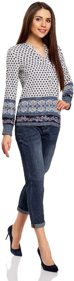 Джинсы12105105/46678/7000WЖенские укороченные джинсы oodji Ultra выполнены из высококачественного материала. Модель-бойфренды средней посадки по поясу застегиваются на пуговицу и имеют ширинку на застежке-молнии, а также шлевки для ремня. Джинсы имеют классический пятикарманный крой: спереди - два втачных кармана и один маленький накладной, а сзади - два накладных кармана. Модель оформлена потертостями.