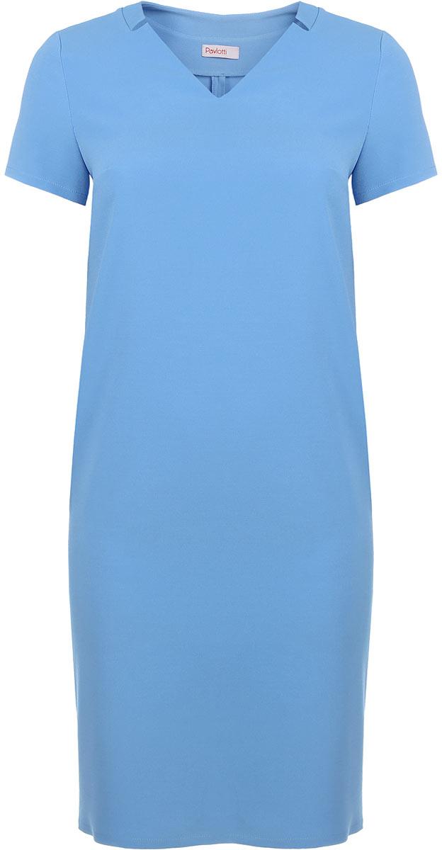 ПлатьеП19-192Лаконичное платье Pavlotti выполнено из полиэстера с добавлением вискозы и лайкры. Модель длиной до колен имеет V-образный вырез горловины и короткие рукава. В области груди предусмотрены вытачки для оптимальной посадки по фигуре. Сзади имеется разрез.