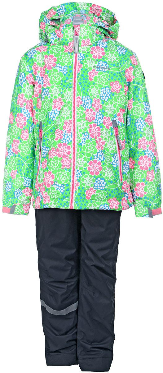 Комплект верхней одежды752000660IV_665Комплект верхней детской одежды Icepeak состоит из куртки и полукомбинезона. Куртка с капюшоном застегивается на пластиковую молнию. На рукавах предусмотрены манжеты. Спереди расположены два врезных кармана на молниях. Оформлено изделие оригинальным принтом. Брюки спереди застегиваются на пластиковую молнию и кнопку. Модель дополнена эластичными наплечными лямками, регулируемыми по длине. На талии предусмотрена широкая резинка. На комплекте предусмотрены светоотражающие элементы.