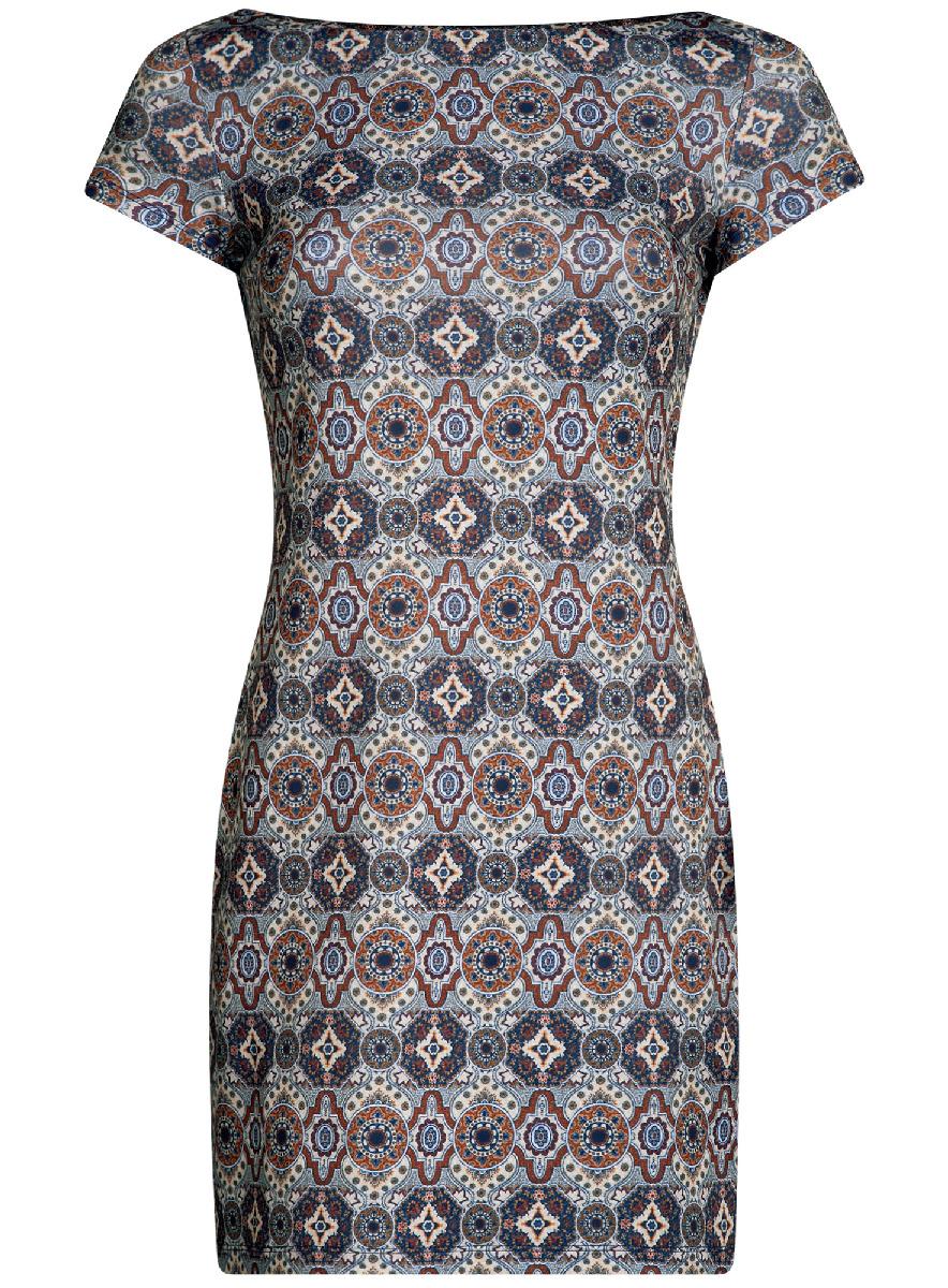 Платье14001117-5M/45344/3331EЛаконичное облегающее платье oodji Ultra выполнено из качественного трикотажа и оформлено оригинальным принтом. Модель мини-длины с вырезом-лодочкой и короткими рукавами выгодно подчеркивает достоинства фигуры.