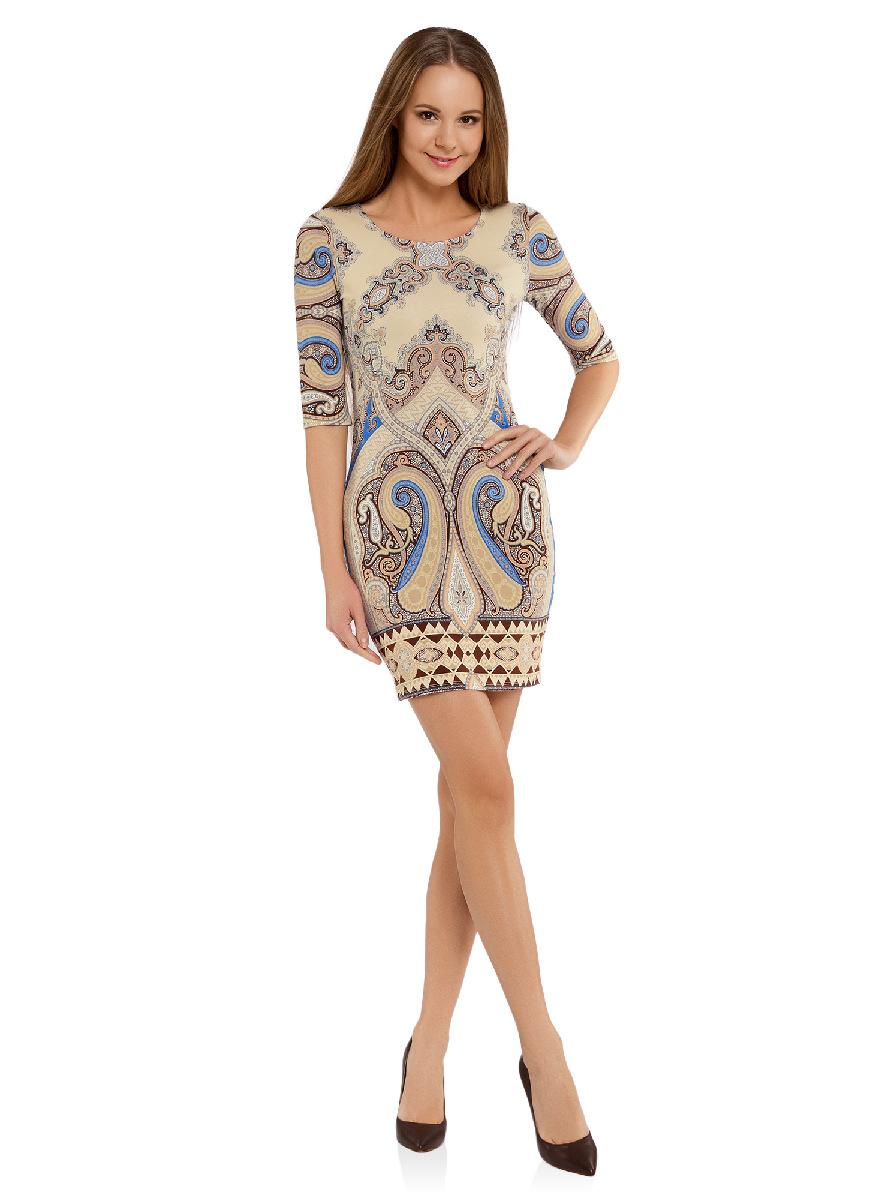 Платье14001121-2B/14675/3375EОблегающее платье oodji Ultra выполнено из качественного трикотажа и оформлено оригинальным принтом в этническом стиле. Модель мини-длины с круглым вырезом горловины и рукавами средней длины выгодно подчеркивает достоинства фигуры.