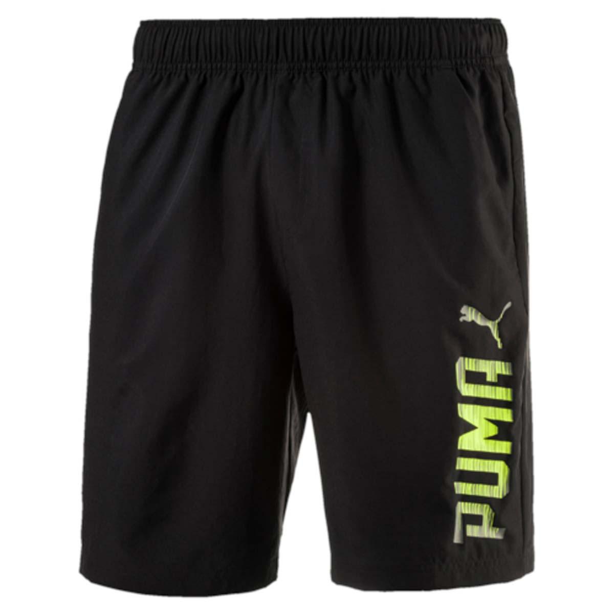 Шорты590614_01Мужские спортивные шорты Rebel Woven Shorts изготовлены из 100% полиэстера. Эластичный пояс снабжен внутренними завязками для лучшей посадки по фигуре. Изделие имеет стандартную посадку, боковые карманы в швах, классический покрой. Шорты декорированы резиновым логотипом PUMA на левой штанине. Модель не стесняет движений, обеспечивая удобство и комфорт во время занятий.