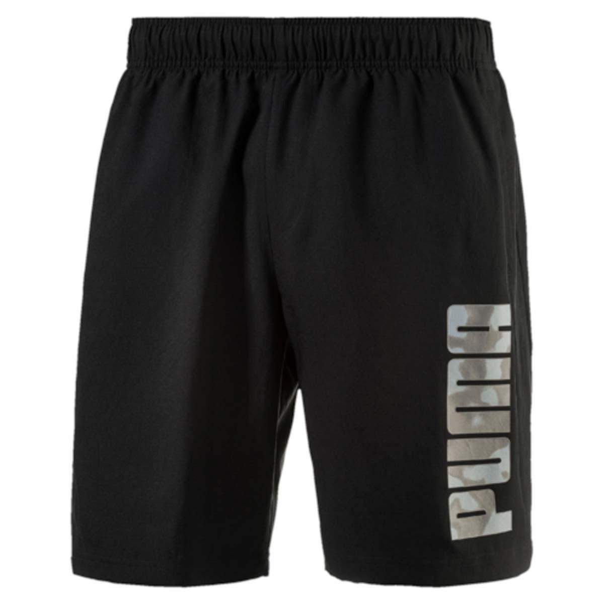 Шорты83832731Шорты мужские Hero Woven Shorts выполнены из 100% полиэстера с биопропиткой, которая позволяет выводить влагу наружу, сохранять сухость и комфорт даже при интенсивных нагрузках. Шорты декорированы логотипом PUMA на левой штанине. Среди других особенностей изделия - эластичный пояс с затягивающимся шнуром, боковые карманы в швах, нашитая сверху задняя кокетка для лучшей посадки по фигуре, светоотражающие элементы. Удобные свободные шорты отлично подойдут для занятий спортом и повседневной носки.