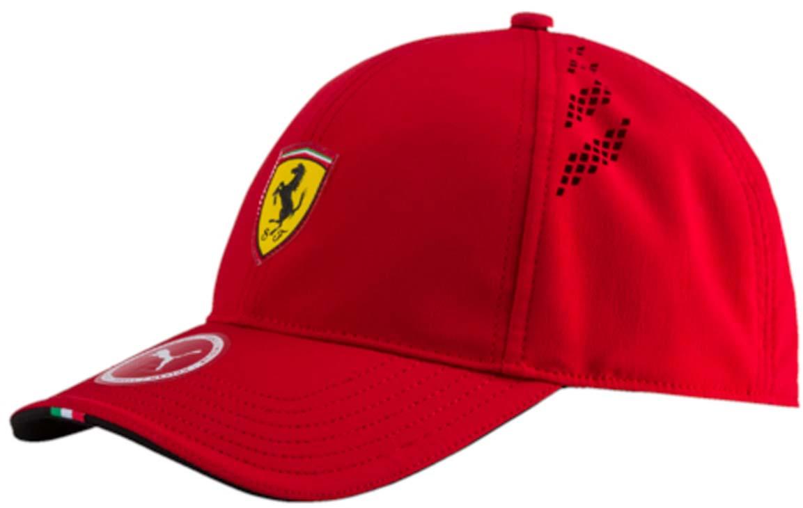 Бейсболка021201_01Бейсболка Ferrari Fanwear force SF cap с логотипом Ferrari и итальянским флагом на козырьке станет бессменным спутником на все заезды любимой команды. Модель имеет изогнутый козырек с контрастной внутренней стороной, плотную посадку с эластичной лентой вдоль головы и лазерную перфорацию по сторонам. Бейсболка декорирована гербом Ferrari из термопластичного полиуретана спереди и логотипом Puma сзади.