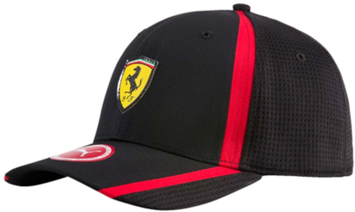 Бейсболка021202_01Бейсболка Ferrari Fanwear redline cap с двухслойным изогнутым козырьком отлично защитит от солнца и обеспечит максимальный комфорт благодаря микрофибре, способной пропускать воздух. Отрегулировать размер изделия можно с помощью тканевого ремешка на задней части изделия. Вентиляция обеспечивается специальными вышитыми люверсами на всей поверхности бейсболки и сетчатыми боковыми вставками. Влаговпитывающая тесьма с сетчатой вставкой обеспечивает больший комфорт. На внутренней части козырька также имеется сетчатая вставка. Бейсболка декорирована гербом Ferrari спереди и логотипом Puma сзади.