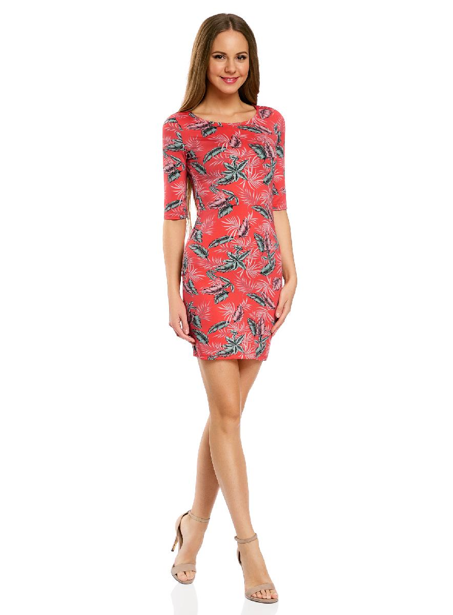 Платье14001121-3B/16300/1273FОблегающее платье oodji Ultra выполнено из качественного трикотажа и оформлено оригинальным принтом. Модель мини-длины с круглым вырезом горловины и рукавами средней длины выгодно подчеркивает достоинства фигуры.